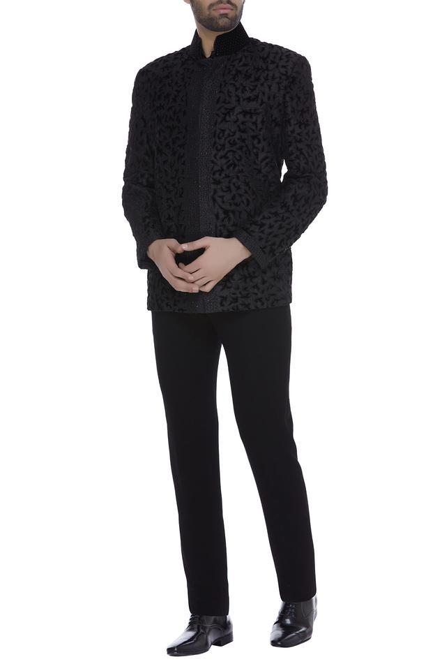 Motif applique jacket with trouser