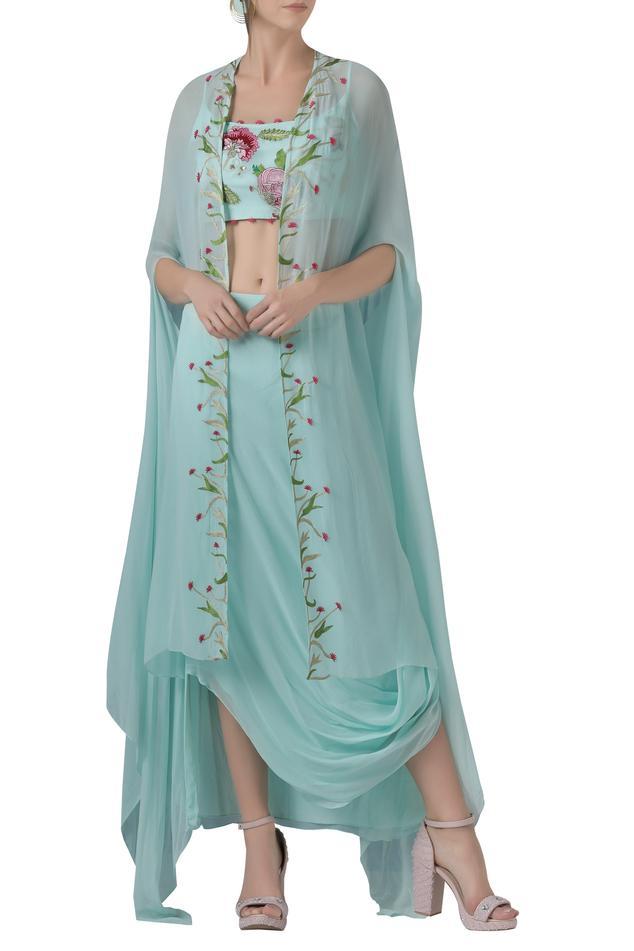 Embroidered Draped Skirt Set