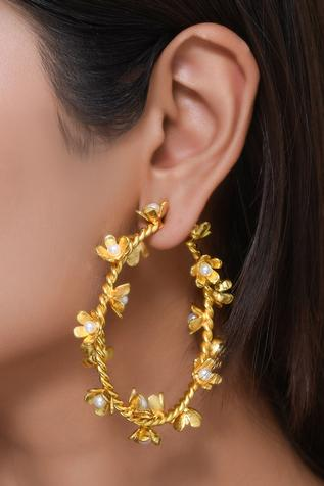 Floral Bead Hoops