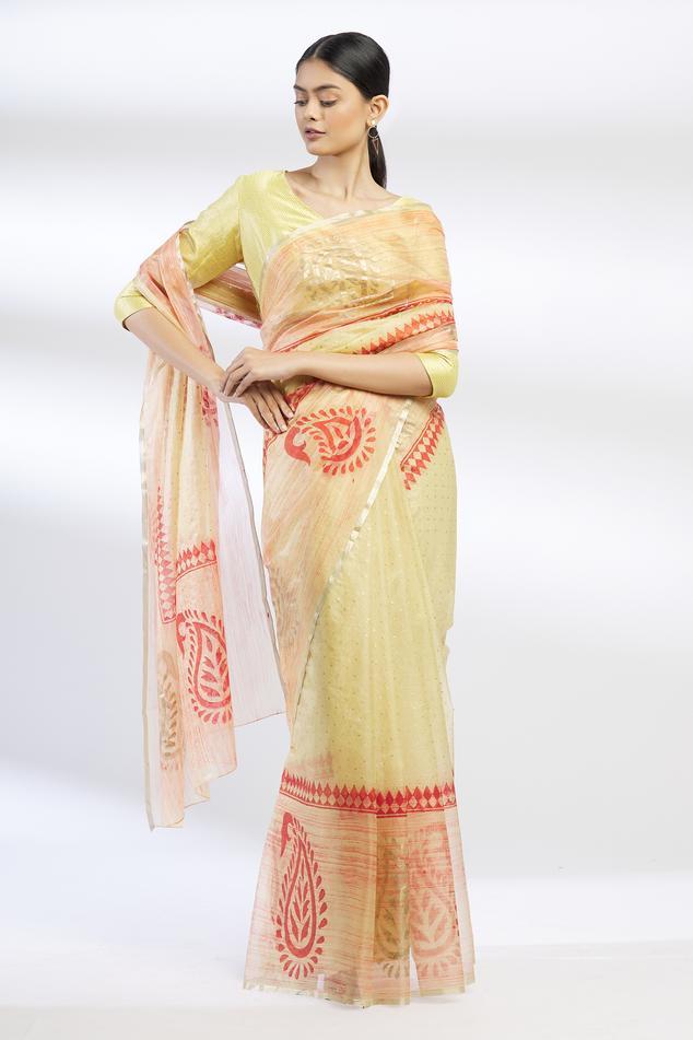 Block Print Organza Saree with Running Blouse Fabric