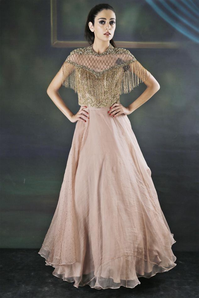 Embellished Fringe Gown