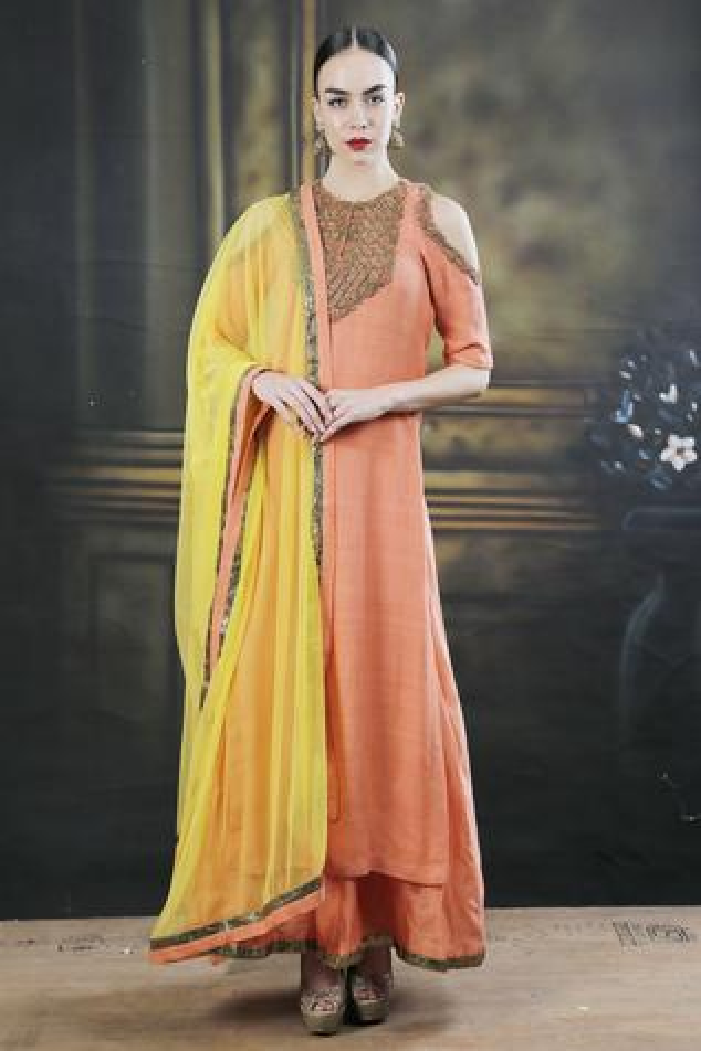 Orange dori work kurta with palazzos