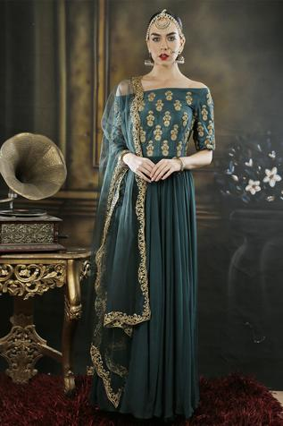 Bottle green off shoulder anarkali