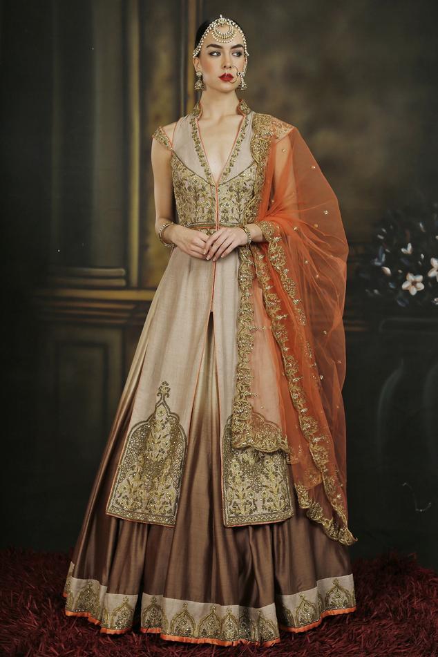 Orange & brown embroidered jacket lehenga