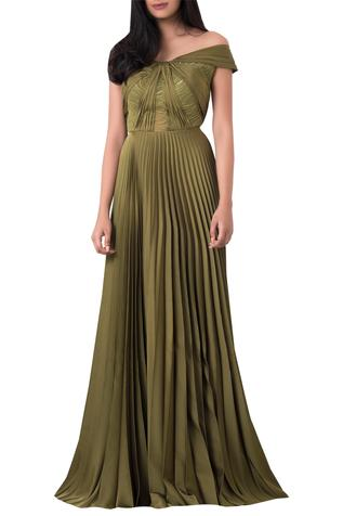 Off Shoulder Pleated Gown