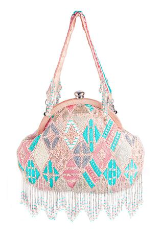 Bead Tassel Clutch with Handle