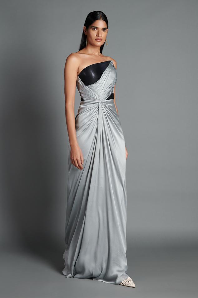 Metallic Draped Bandeau Gown