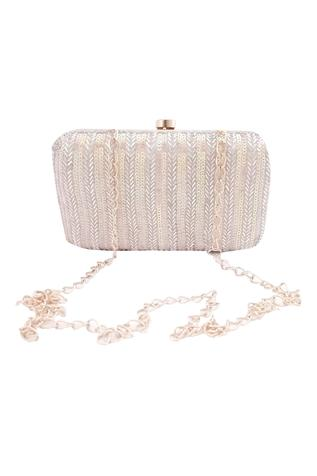 Silk Striped Clutch with Sling