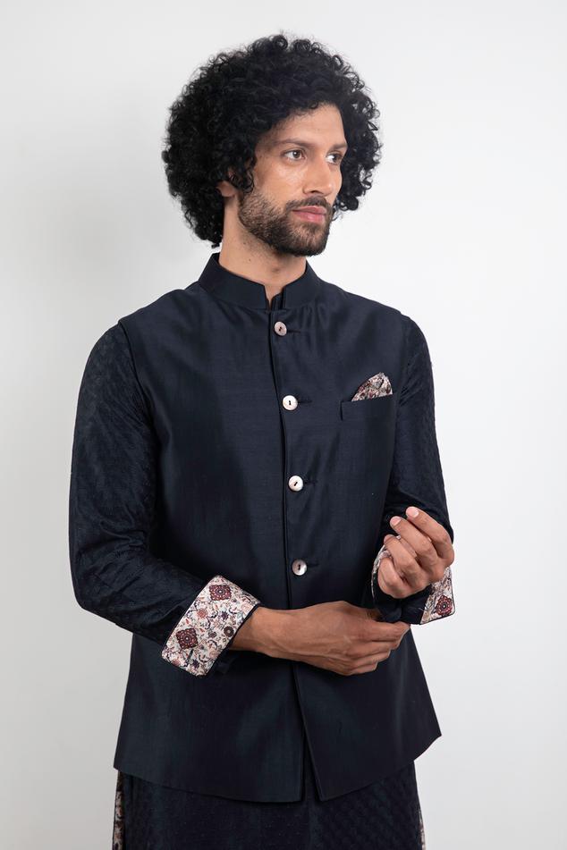 Handwoven Chanderi Silk Nehru Jacket