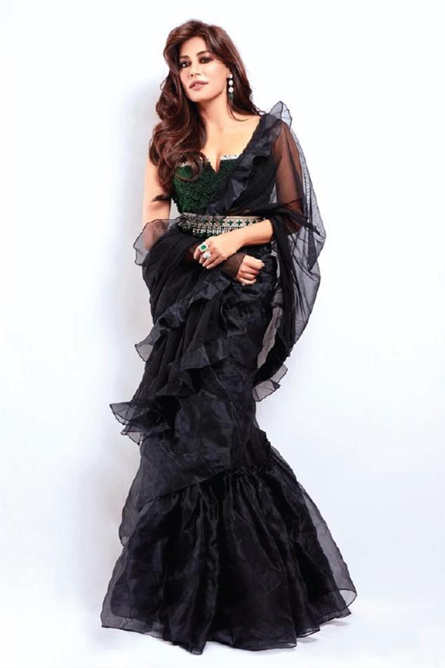 Ruffle Saree with Blouse & Belt