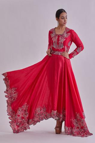 Pure Chanderi Embroidered Asymmetric Gown