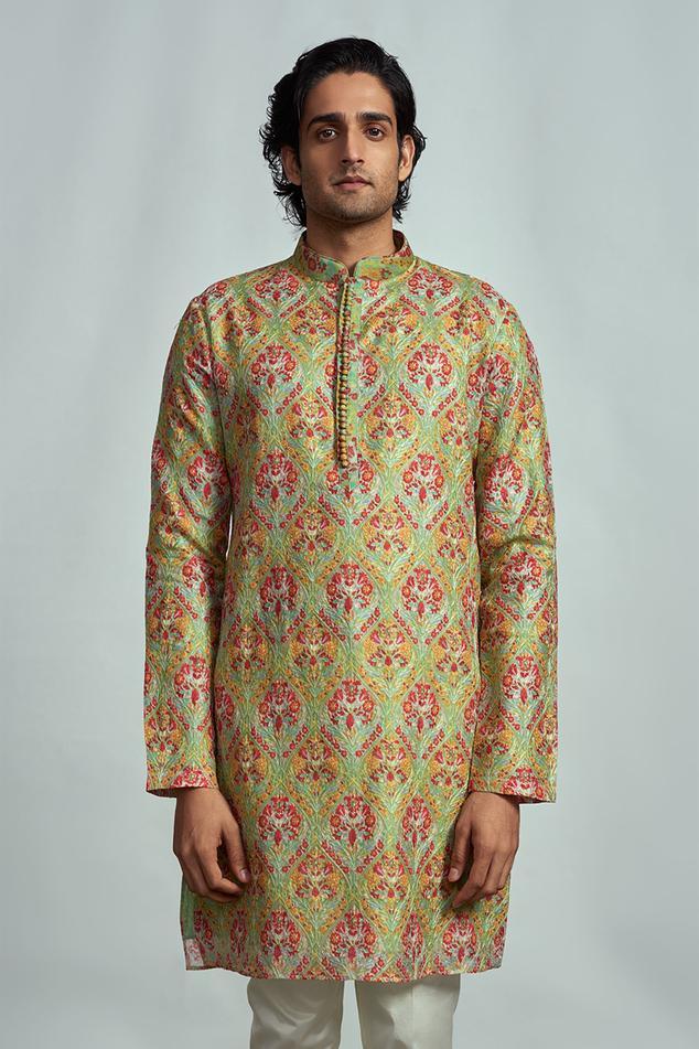 Embroidered Silk Kurta