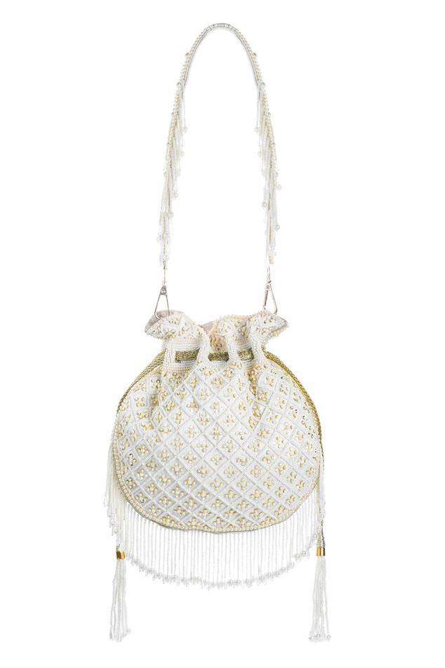 Bead Embellished Tassel Potli Bag
