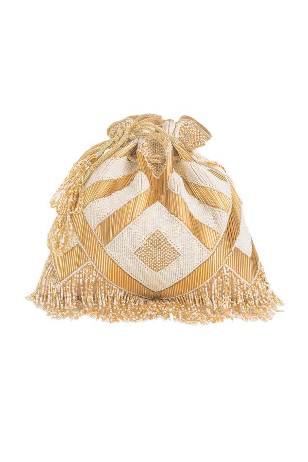 Satin Silk Bead Tassel Potli Bag