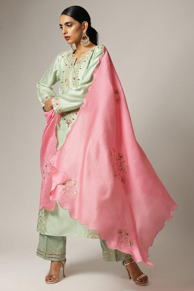 Embroidered Silk Chanderi Dupatta