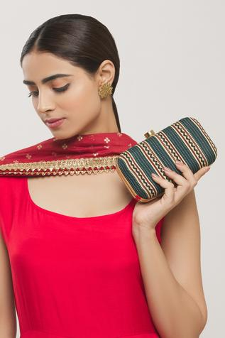 Block Print Box Clutch with Sling