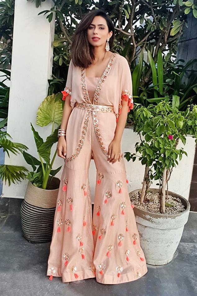 Silk Embroidered Jacket & Sharara Set