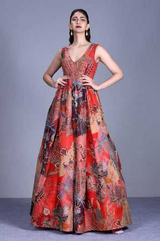 Embellished Organza Gown