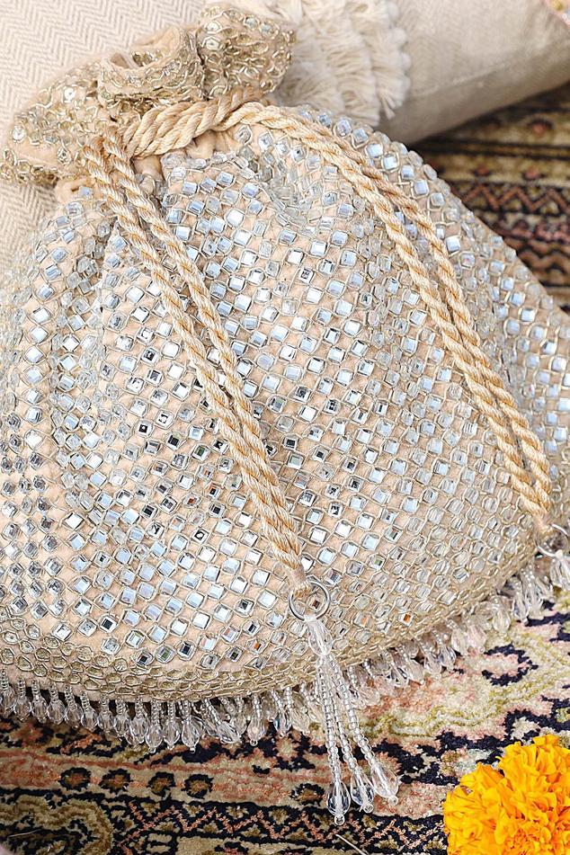 Velvet Sequin Embellished Tassel Potli Bag