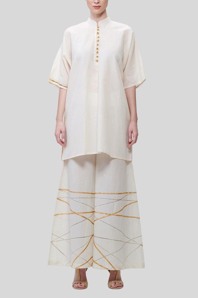 Kora Cotton Embroidered Palazzos