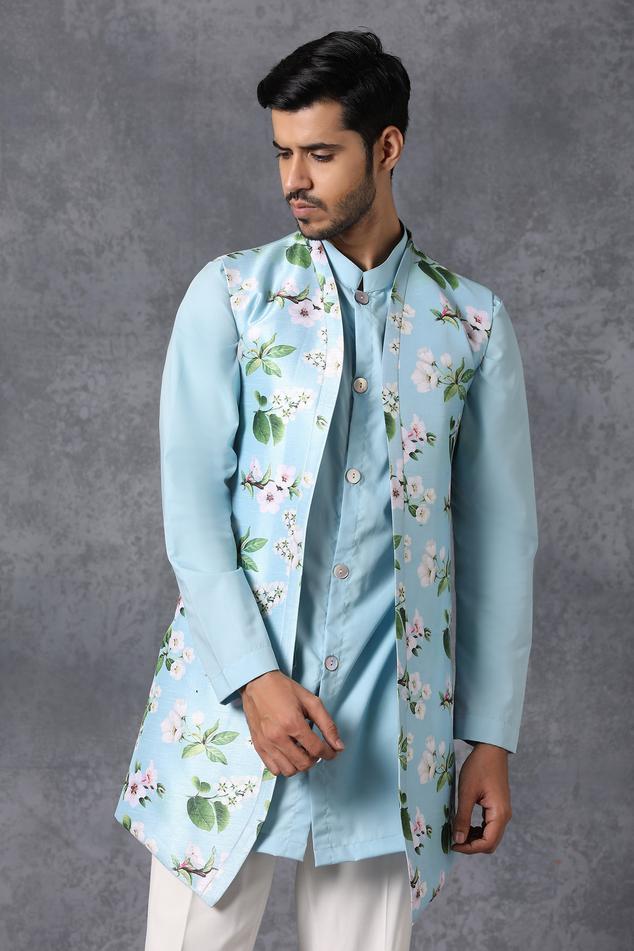 Silk Jacket & Kurta Set