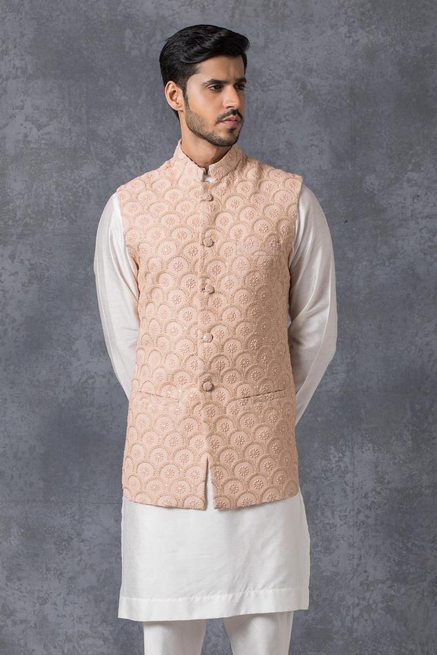 Lucknowi Embroidered Nehru Jacket