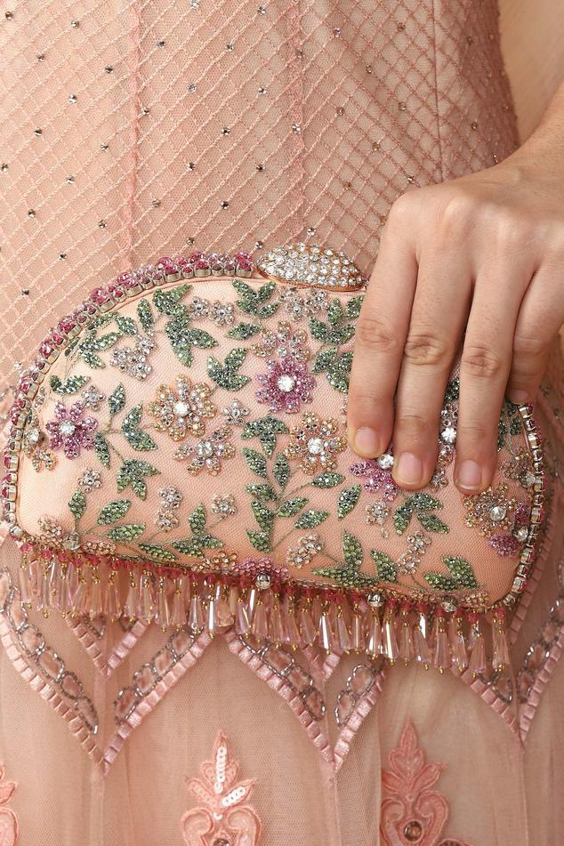 Floral Crystal Tassel Clutch