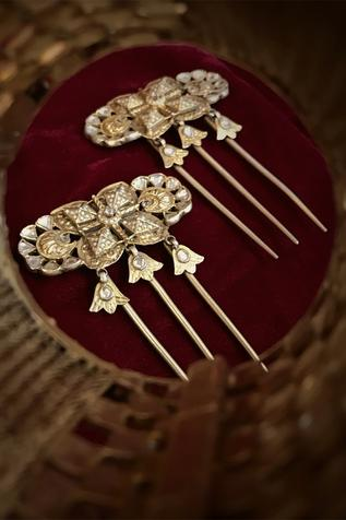 Carved Stone Hair Pin (Set of 2)