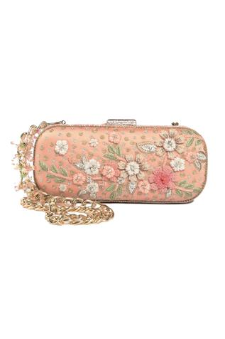 Silk Floral Embroidered Clutch