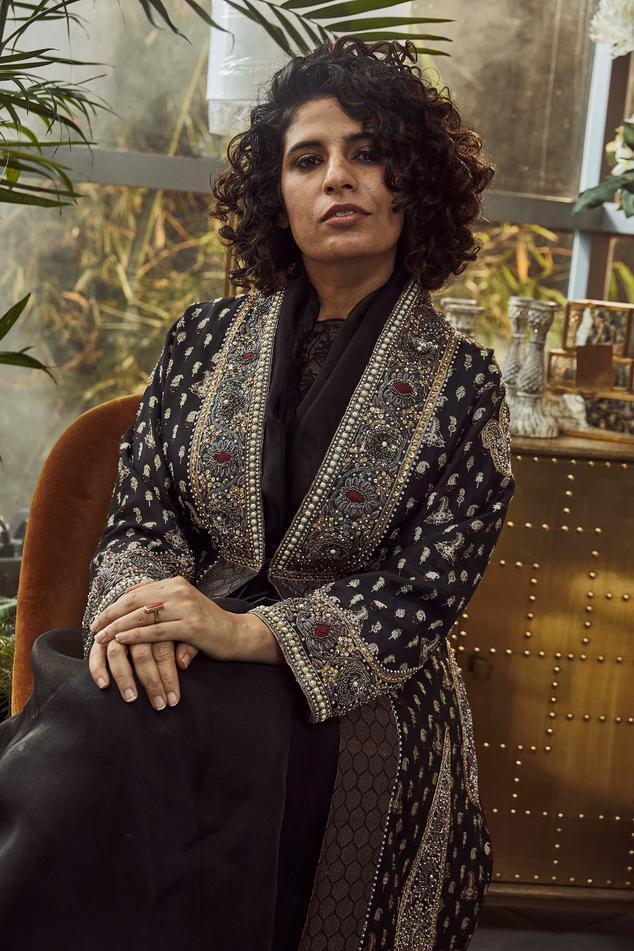 Aashna Silk Jacquard Embroidered Jacket