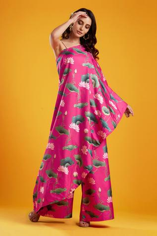 One Shoulder Printed Cape & Palazzo Set