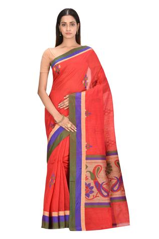 Floral Motif Saree with Running Blouse Fabric