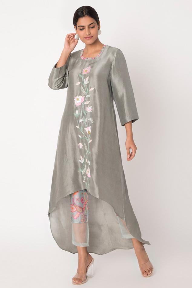 Embroidered Silk Kurta & Pant Set