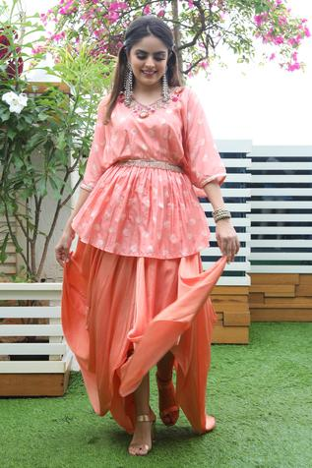 Printed Kurta & Draped Skirt