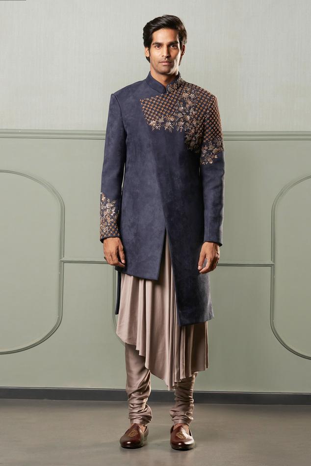 Suede Sherwani & Asymmetric Kurta Set