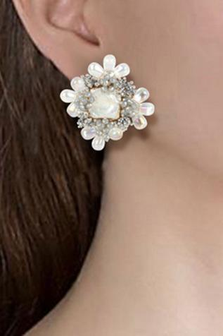 Floral Bead Stud Earrings