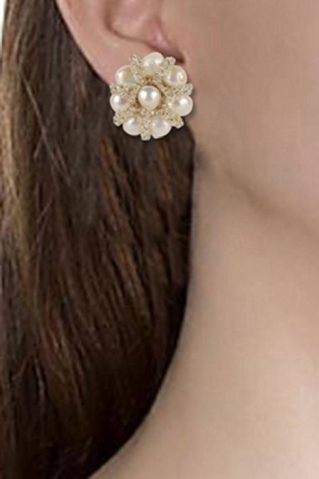 Floral Bead Stud Earrings