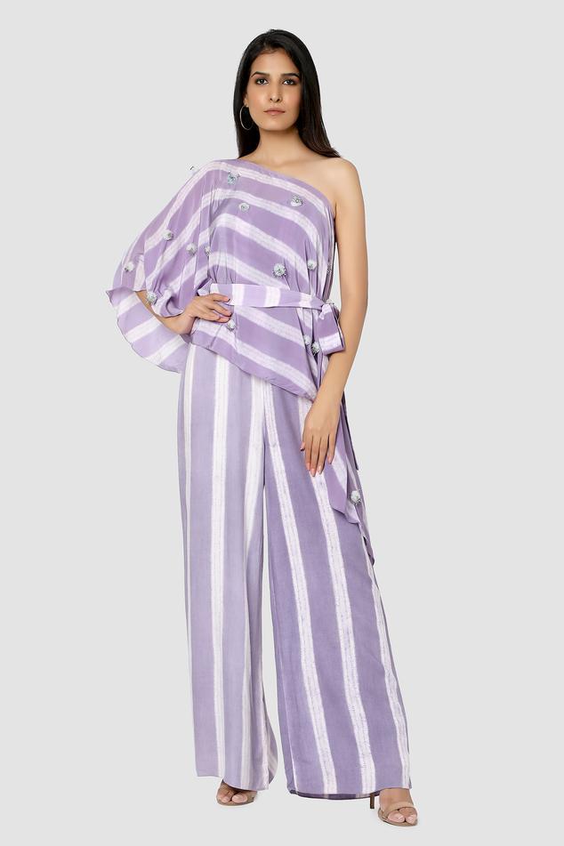 Organic Cotton Silk One Shoulder Jumpsuit with Cape
