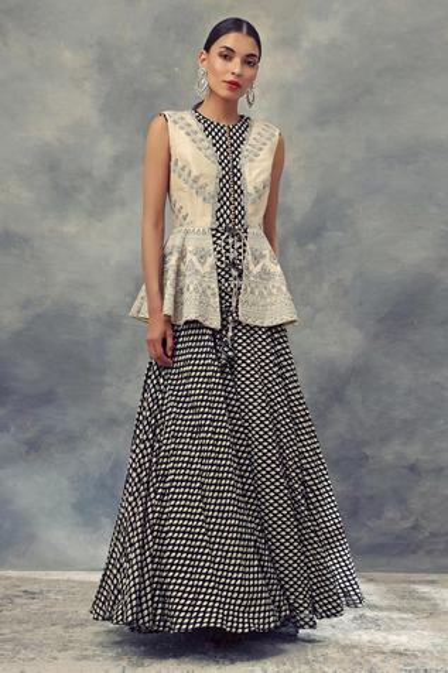 Printed Anarkali & Peplum Jacket Set