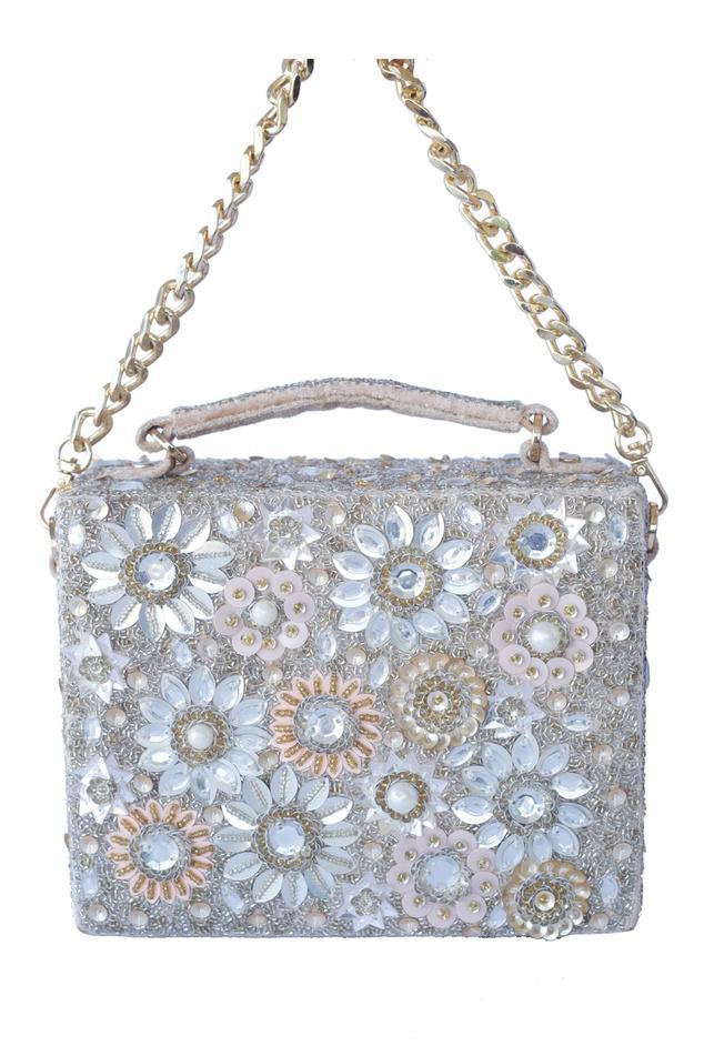 Velvet Floral Box Clutch