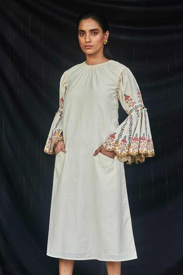 Kala Cotton Bell Sleeve Midi Dress