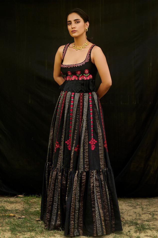 Chanderi Pleated Striped Lehenga