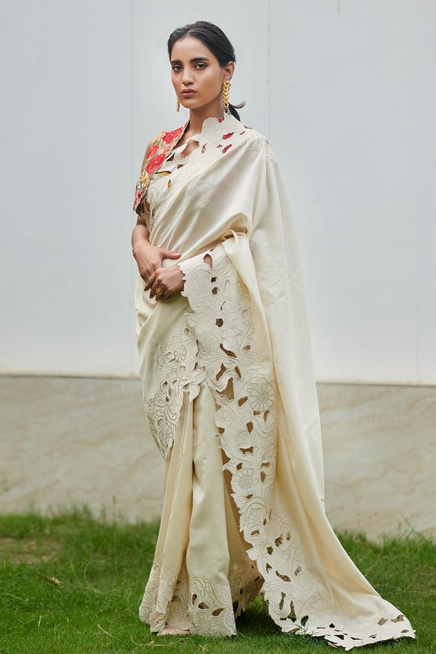 Chanderi Cutwork Saree