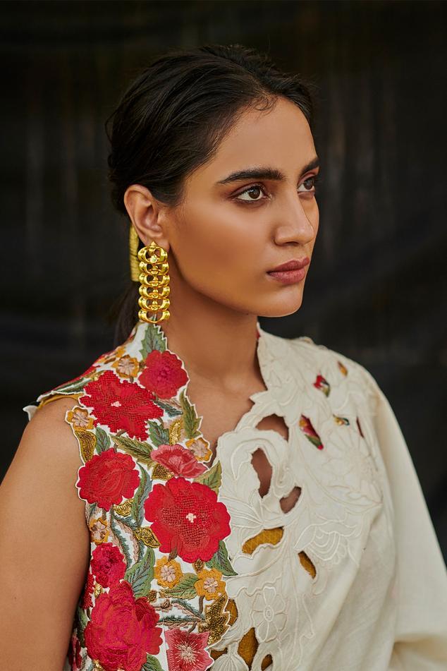 Chanderi Floral Embroidered Jacket