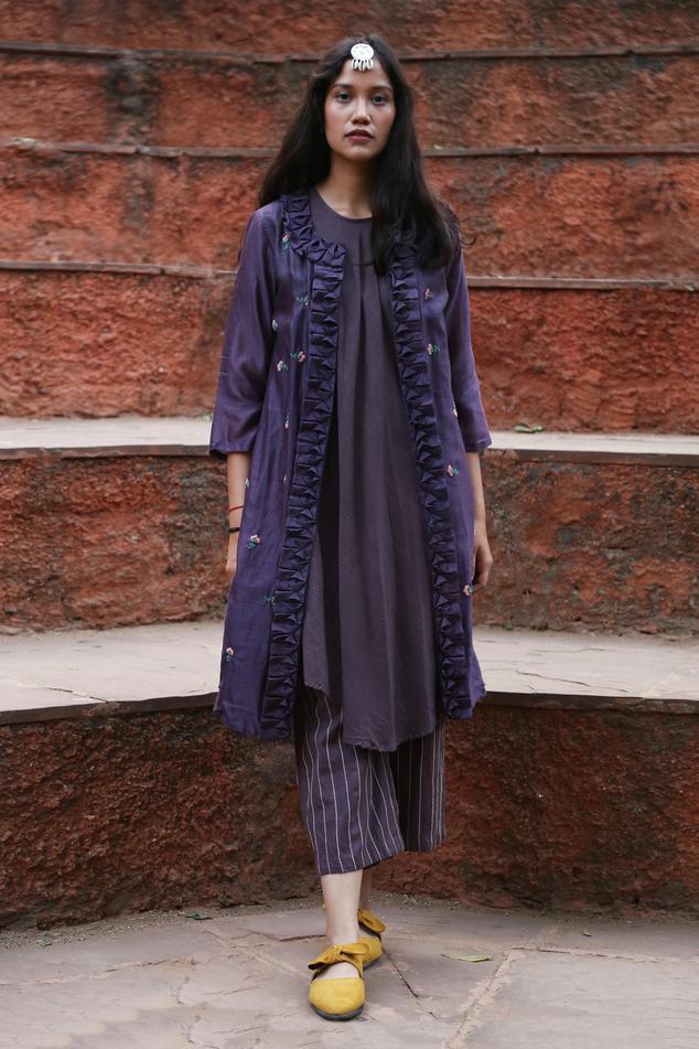 Chanderi Silk Jacket & Pant Set