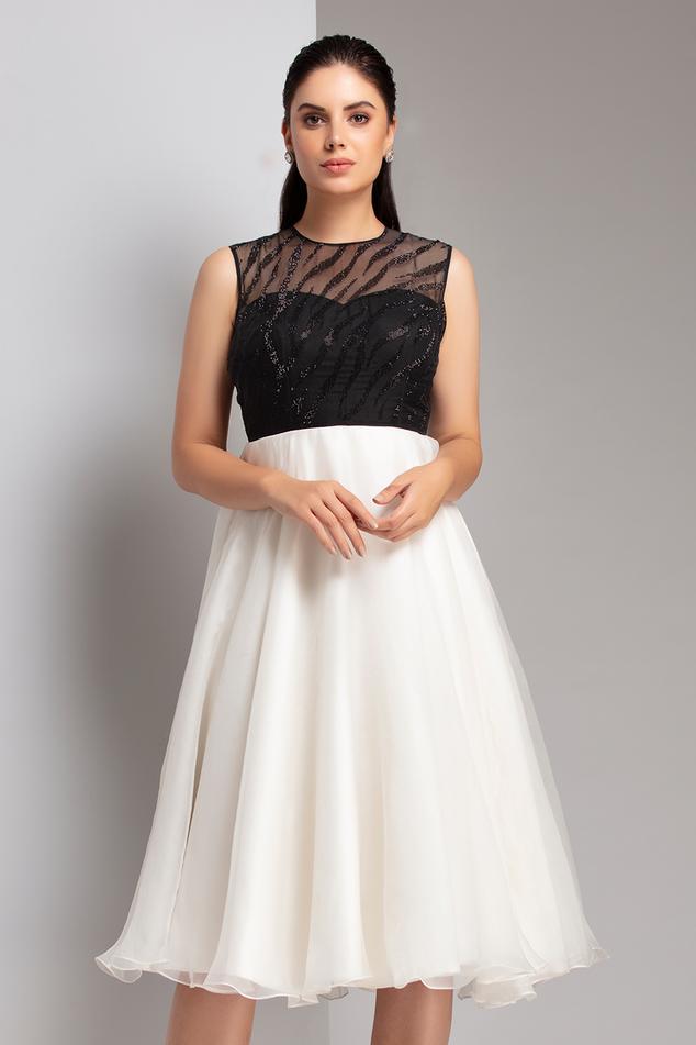 Silk Organza Embellished Dress