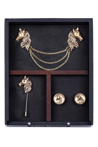 Duo Horse Cufflink, Brooch & Lapel Pin Set