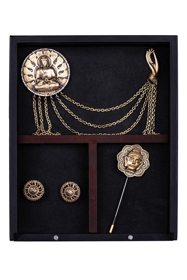 Buddha Myth Cufflink, Brooch & Lapel Pin Set