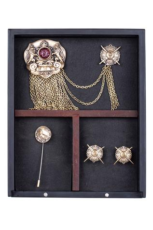 Royal Club Cufflink, Brooch & Lapel Pin Set