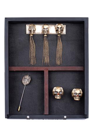 Three Wise Skull Cufflink, Brooch & Lapel Pin Set